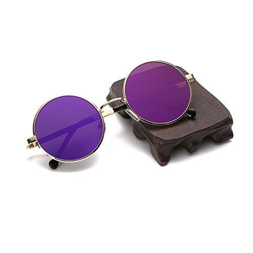 Retro Round Sunglasses for Mens & Womens with Purple Colors Mirror Metal Frame
