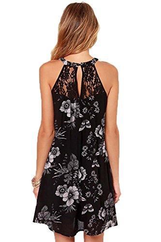 Casual Sleeveless DREAGAL Mini Lace Black Patchwork amp;white Dress Loose Women's Chiffon XHqPnPxS5