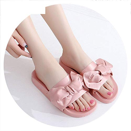 Fashion Silk Bow Slides Women Slippers Soft Fabric Cute Butterfly-Knot Designer Flat Sandals Ladies Beach Shoes,Pink,7