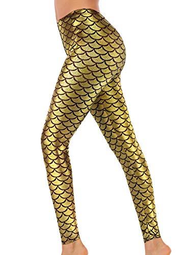 Alaroo High Stretch Fish Scale Mermaid Leggings for Women Golden -