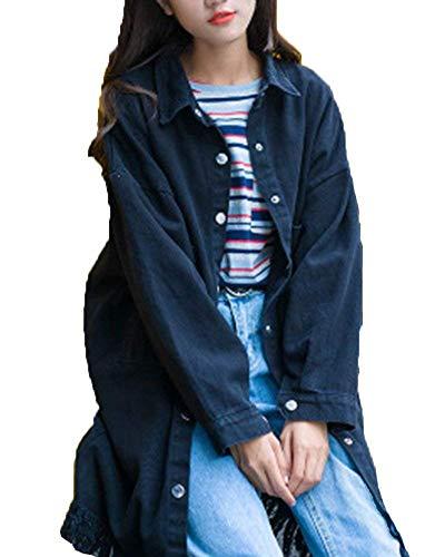 Donna Bottoni Lunga Autunno Giacca Primaverile Hipster Nappe Jeans Tasche Bavero Cappotto Manica Moda Giacche Vintage Chiusura Outerwear Fashion Schwarz Ragazza Casual Con T5nPz