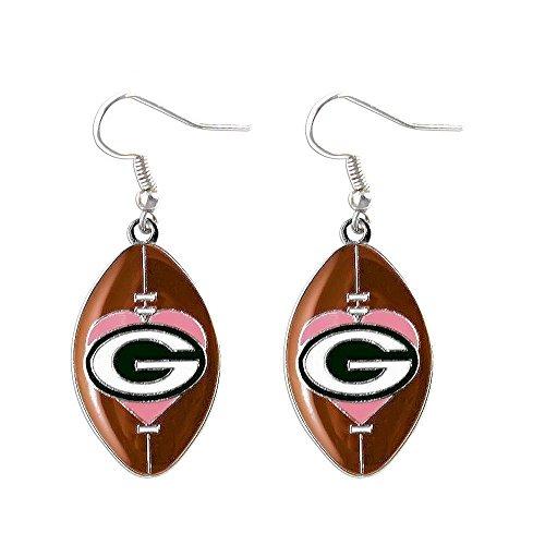 Sports Team Green Bay Packers Pink Heart Dangle Football Earring ()