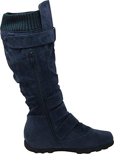 High Sweater Boot Women's Navy Knee Cambridge Select Flat Knit Buckle wtn0xOAOgq