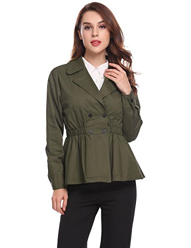 Double Breasted Trench Coat Womens Lapel Elastic Waist Ruffled Hem Solid Cropped Jacket -