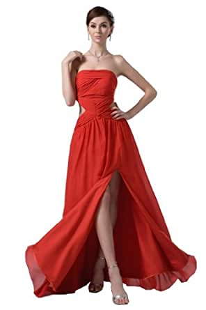 Amazon.com: Orifashion Sexy Midriff Split Red Prom Dress
