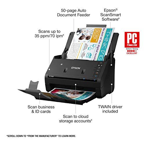 Epson B11B228201 WorkForce ES-500W Wireless Document Scanner Black