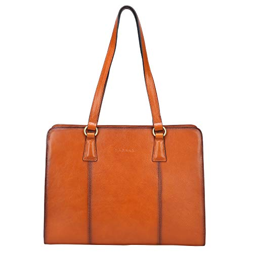 Banuce Vintage Full Grains Italian Leather Shoulder Handbag for Women Handle Bag Business Briefcase 13 Inch Laptop Attache Case