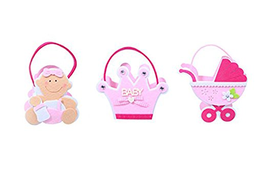 Baby Shower Bag / Baby Shower Favor Bags - 3 Piece Set - Unique Pink Baby Girl Soft Gift Baskets - Baby Carriage, Baby Princess Crown, & Baby Girl Decorations - 5 x 7.5 x 2.5 Inches