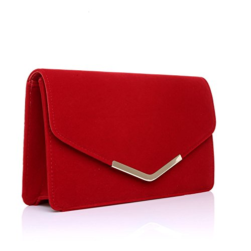LUCKY Red Red Suede Clutch LUCKY Suede Medium Bag Size nnfx5rv6w