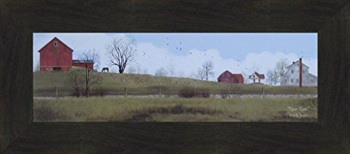 Rural Route by Billy Jacobs 10x22 Red Barn Farm Horse Country Road Fields Framed Folk Art Print Picture (2