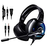 ONIKUMA Gaming Headset - 3.5mm Headset for PS4, Xbox One (Adapter Needed), Nintendo Switch (Audio) , PC, etc. Over-Ear PC Gaming Headset with Stereo Surround Sound, Noise-Canceling Microphone