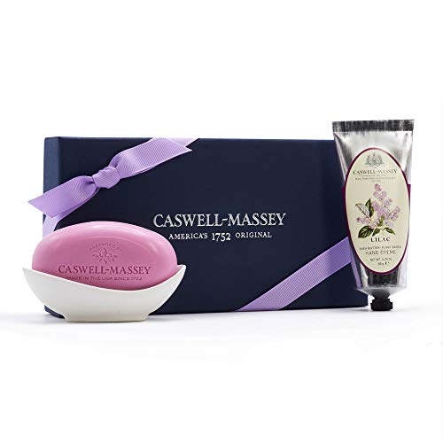 (Caswell-Massey Lilac Gift Set with Eau de Toilette Perfume, Hand Cream and Triple Milled Soap - NYBG Luxury Gift Set – Made In)