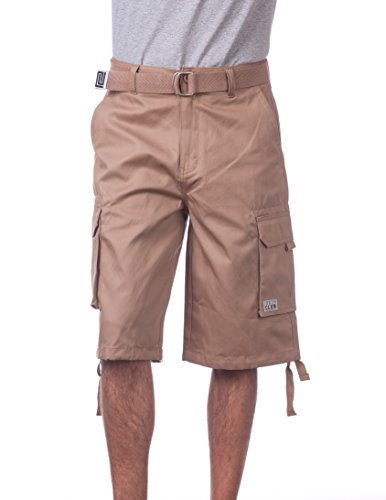 Pro Club Men's Cotton Twill Cargo Shorts with Belt, 34