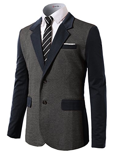 H2H Mens 2 Button 160'S Wool Blazer Working Button Holes Suit Jacket Navy US S/Asia M (CMOBL015)