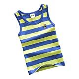 Kids Cotton Tank Top Undershirts Children's Summer Striped Crew Neck Short Sleeve Vest Bottoming Sleeveless T-Shirts Soft Comfort Boy's Undershirts Tank Top Black White For Boys or Girls