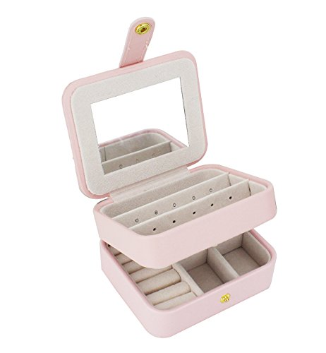 Zmart Portable Travel Jewelry Box Organizer Earring Ring Holder Necklace Storage Case with Mirror (Pink) by Zmart