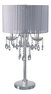"SH Lighting 6733T-WH(U) Crystal Inspired 3-Bulb Table Touch Lamp, 29.5""H, White/Chrome"