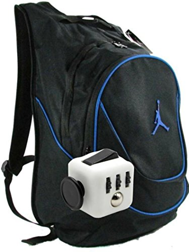 Nike Air Jordan Jumpman 23 Book Bag Backpack with FREE FIDGET CUBE (Black w/Blue Trim) by NIKE
