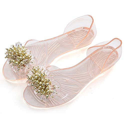 Memorygou Women Summer Jelly Sandals - Bowtie Open Toe Slip On Flat Heel Sandal Flip Flops Casual Shoes