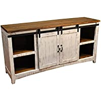 Crafters and Weavers Granville White 67 TV Stand / Sideboard / Console Table with Sliding Barn Doors
