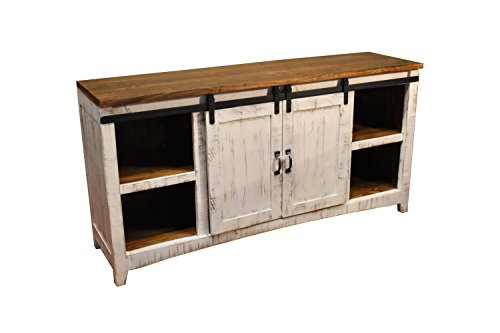 Crafters and Weavers Granville White 67' TV Stand / Sideboard / Console Table with Sliding Barn Doors