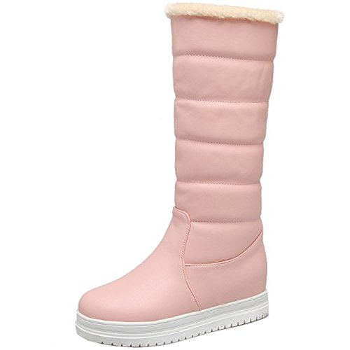COOLCEPT Women Warm Flatform Snow Boots Pull On Pink-1 ix1U4N