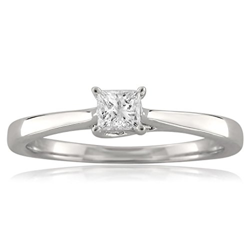 1/4 Ct Princess Solitaire Ring (18k White Gold Princess-cut Solitaire Diamond Engagement Ring (1/4 cttw, I-J, I1-I2), Size 8)