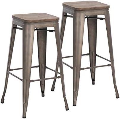 Buschman Set of 2 Bronze Wooden Seat 30 Inch Bar Height Metal Bar Stools, Indoor Outdoor, Stackable