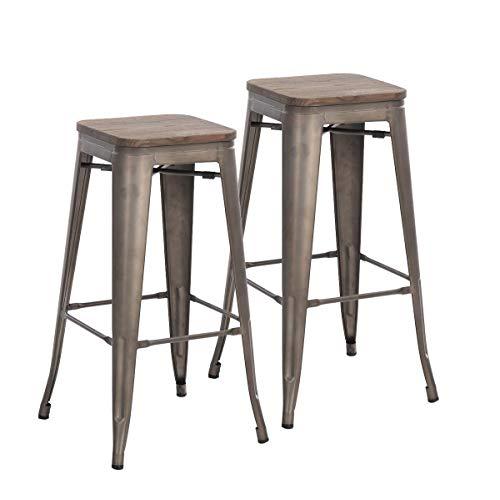 Buschman Set of 2 Bronze Wooden Seat 30 Inch Bar Height Metal Bar Stools, Indoor/Outdoor, Stackable