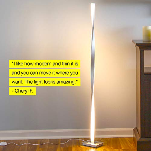 Brightech Helix LED Floor Lamp for Living Rooms - Get Compliments: Modern Standing Pole Light for Bedrooms & Offices - Bright & Dimmable - Contemporary 48 Inch Tall Lamp - Platinum Silver by Brightech (Image #3)