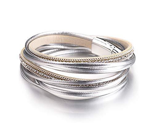 (Fesciory Women Multi-Layer Leather Wrap Bracelet Handmade Wristband Braided Rope Cuff Bangle with Magnetic Buckle Jewelry (Silver Rhinestone))