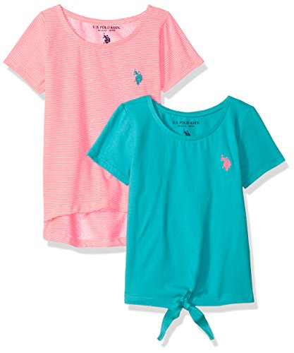 U.S. Polo Assn. Girls' Little 2 T-Shirt, Pack neon Coral Turquoise Jersey Multi, 5/6