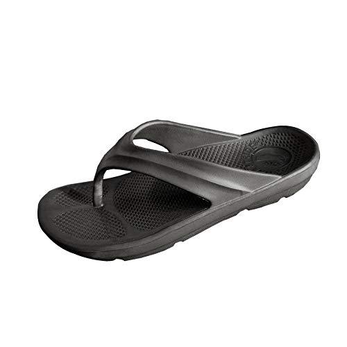 Pure Stride Orthotic Flip Flops for Plantar Fasciitis Metatarsal and Heel Spurs (M7/W8, Black)