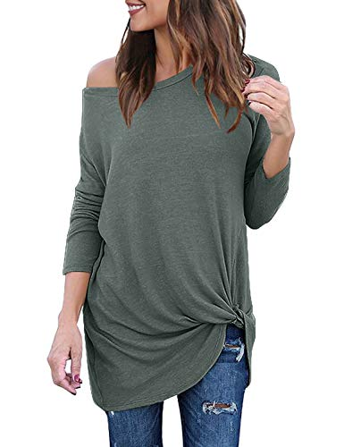 Lookbook Store Women's Casual Soft Long Sleeves Loose Fit Knot Side Twist Knit Blouse Top Shirts Greylish Green Size XXL