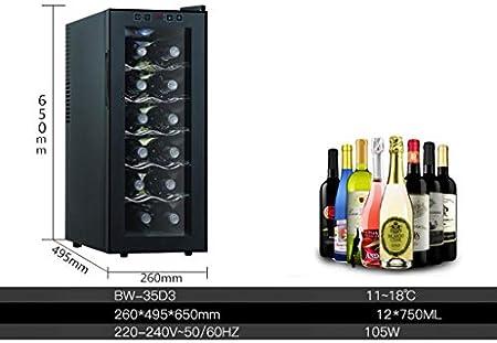 JCOCO -12 botellas de enfriador de vino - microcomputadora inteligente - termostato táctil - enfriador de vino tinto y blanco