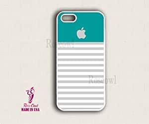 iphone 5 case, iphone 5 cover, iphone 5 cases - Turqouise Top Grey stripe app...