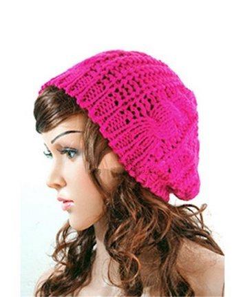 SunHouse New Winter fashion Women Beret Braided Baggy Beanie Crochet Knitted Hat Cap (Rose red) (Beret Crochet New)