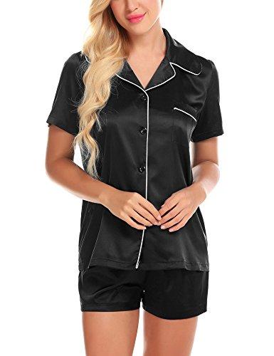 Satin Pajamas for Women Pj Set Cute Sleepwear Cozy Pyjamas Silky Loungewear Black L