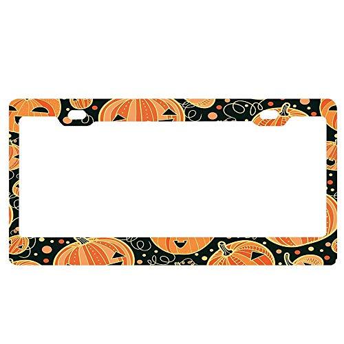 YUMHlicenseplateframeLL Fun Halloween Pumpkins Pattern License Plate Frame Glitter Waterproof License Plate Covers Cute Car Tag -