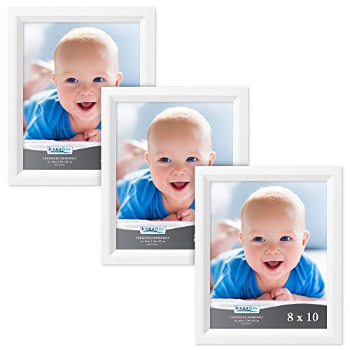 Icona Bay 8x10 Picture Frame (3 Pack, Aspen White Wood Finish), White Photo Frame 8 x 10, Composite Wood Frame for Walls or Tables, Set of 3 Cherished Memories -
