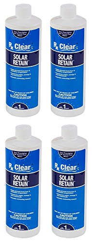 Rx Clear Solar Retain | Liquid Pool Cover | Reduce Water, Heat & Chemical Loss | 1 Quart Bottles | 4 Pack