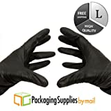 Medical Grade Nitrile Powder Free Exam Glove, 4 Mil, Large, Black (9000 Count) by PSBM