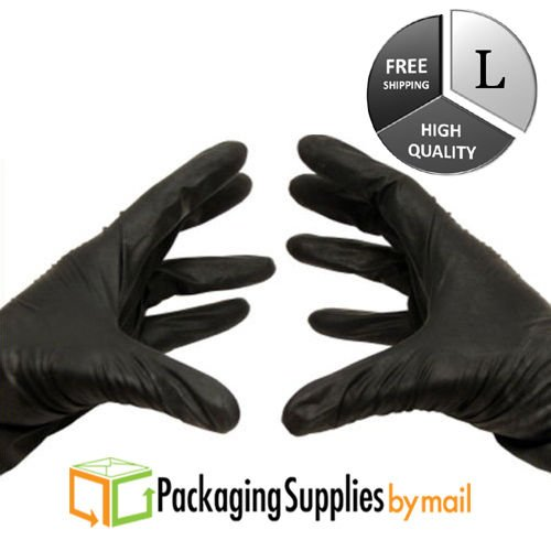 Medical Grade Nitrile Powder Free Exam Glove, 4 Mil, Large, Black (9000 Count) by PSBM by PackagingSuppliesByMail