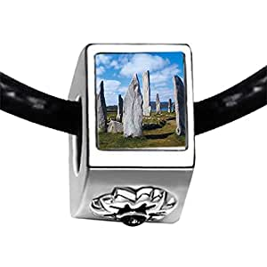 Chicforest Silver Plated Travel Callanish Standing Stones Photo Black Crystal Flower Charm Beads Fits Pandora Charms