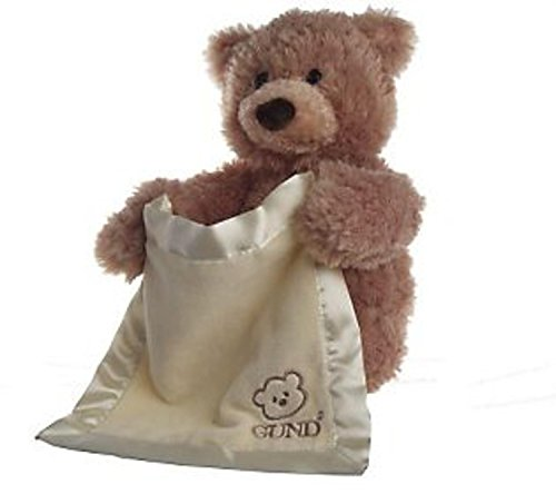 "GUND 10"" Peek-A-Boo Bear Soft and Silky Tan Plush Stuffed..."