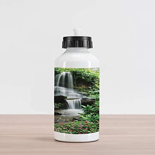 Lunarable Waterfall Aluminum Water Bottle, Waterfall Pond Flowers Tropical Plants Majestic Fresh Jungle Garden, Aluminum Insulated Spill-Proof Travel Sports Water Bottle, Green Dark Brown White