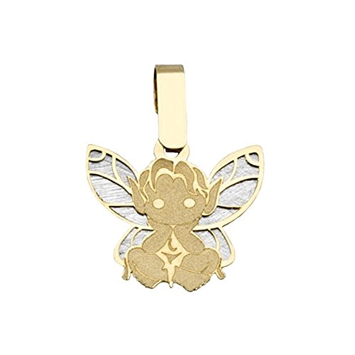 Pendentif FAIRY 18k bicolor or silhouette ailes assis [AB2051]
