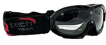 Qtech Adjustable Kids GOGGLES Motocross ATV Racing Mx Dirt Bike Half or Open Helmet Goggle Black