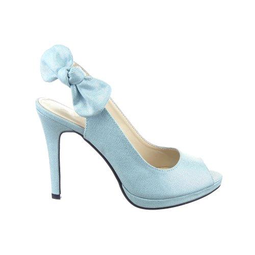 Sopily - Zapatillas de Moda Tacón escarpín Decollete Stiletto Tobillo mujer nodo 10.5 CM - Azul