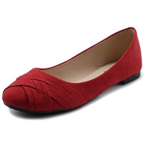 - Ollio Women's Ballet Shoe Cute Casual Comfort Flat ZM1987(6.5 B(M) US, Red)